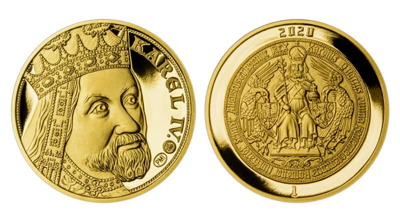 Zlatá mince s Karlem IV.