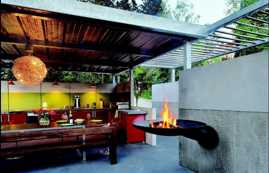 wall-mounted steel firepit
