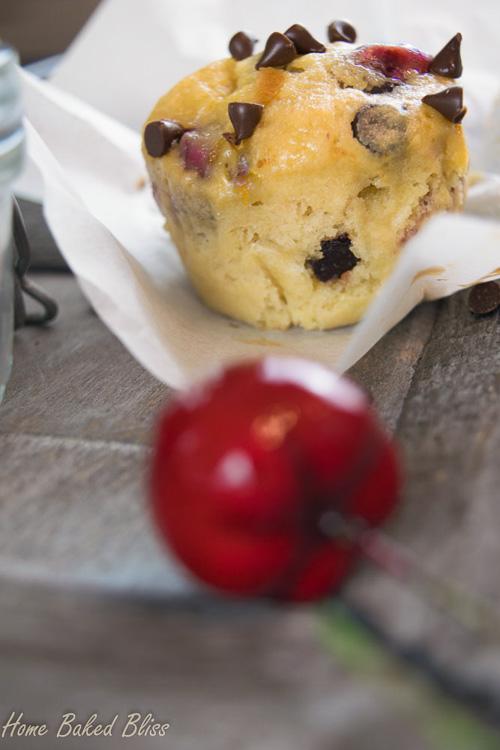 A closeup of a cherry chocolate chip muffin.