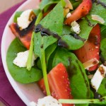 Strawberry Feta Spinach Salad with Toasted Almonds