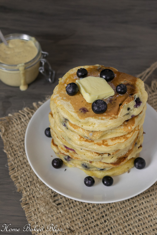 Blueberry Pancakes with Homemade Vanilla Sauce