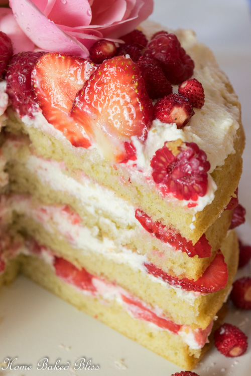 Revealing the inside layers of the berry layer cake.