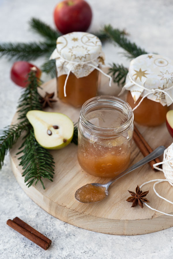 apple pear jam on wooden board