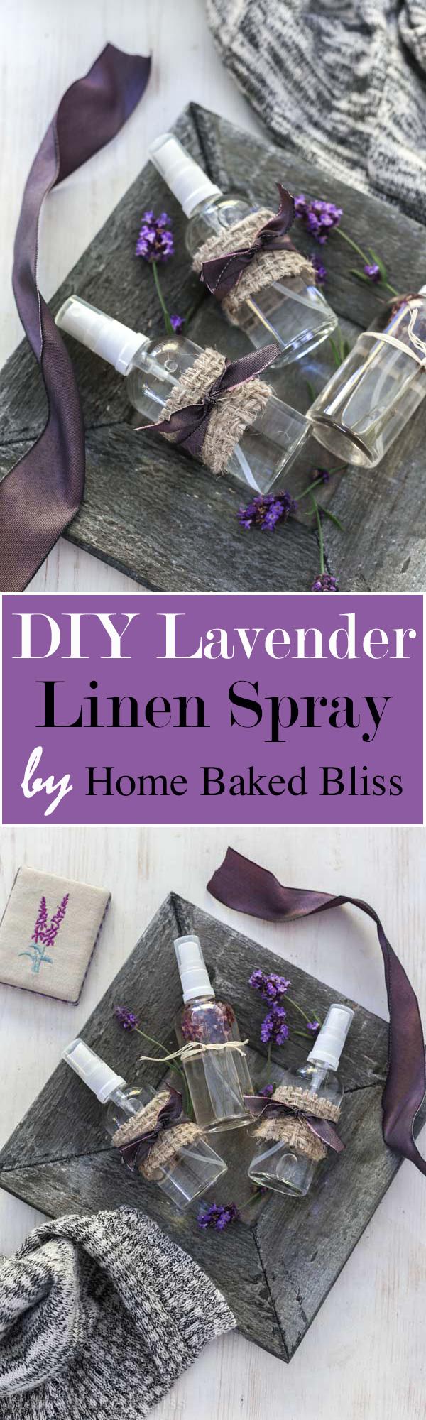A sleep promoting and calming DIY Lavender Linen Spray.