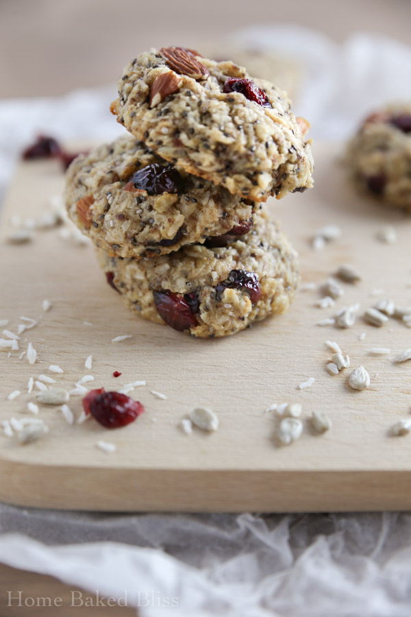 A tower of breakfast cookies with cranberries and coconut.
