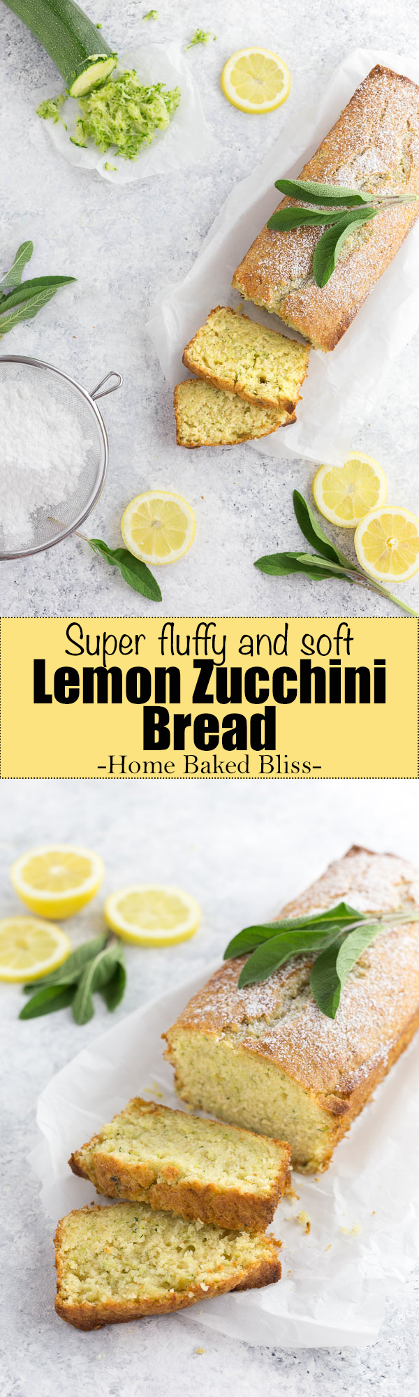 A soft and fluffy lemon zucchini bread. The perfect quick bread for summer!