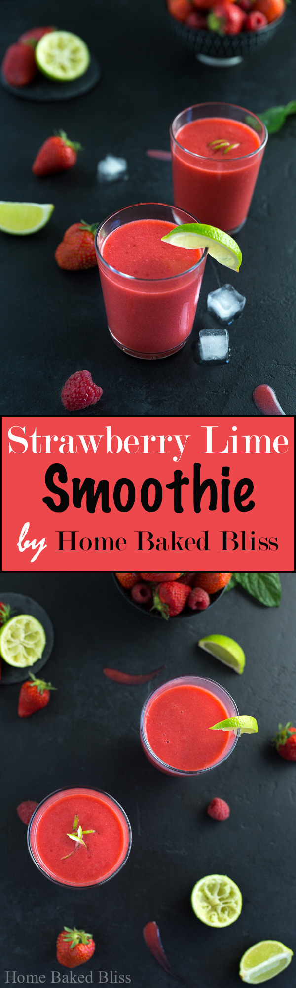 A refreshing sweet and sour strawberry lime smoothie. Perfect as breakfast on the go!