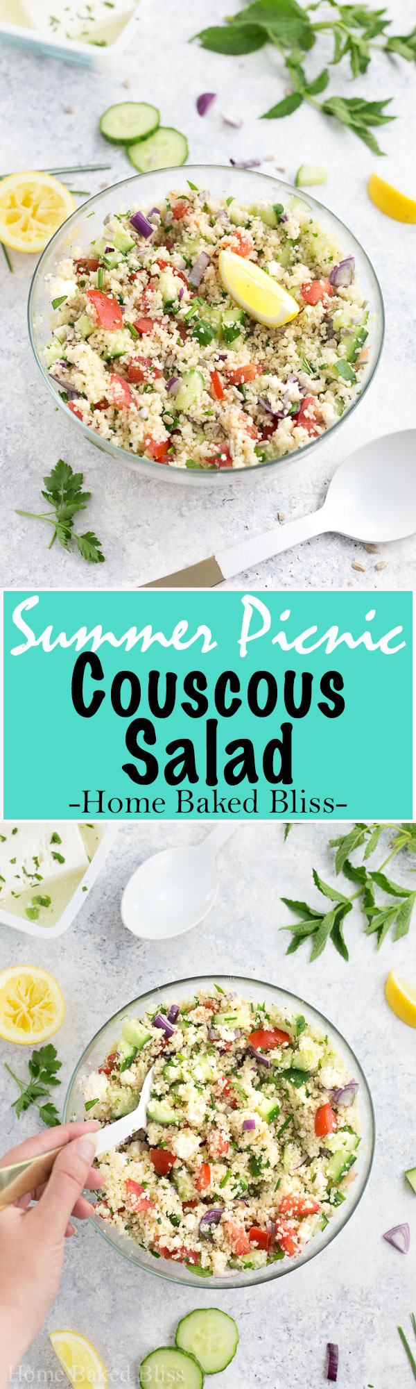 A colourful and flavourful summer inspired couscous salad with tomatoes, cucumbers, onions, and feta cheese. Seasoned with fresh herbs. The perfect recipe for a picnic!