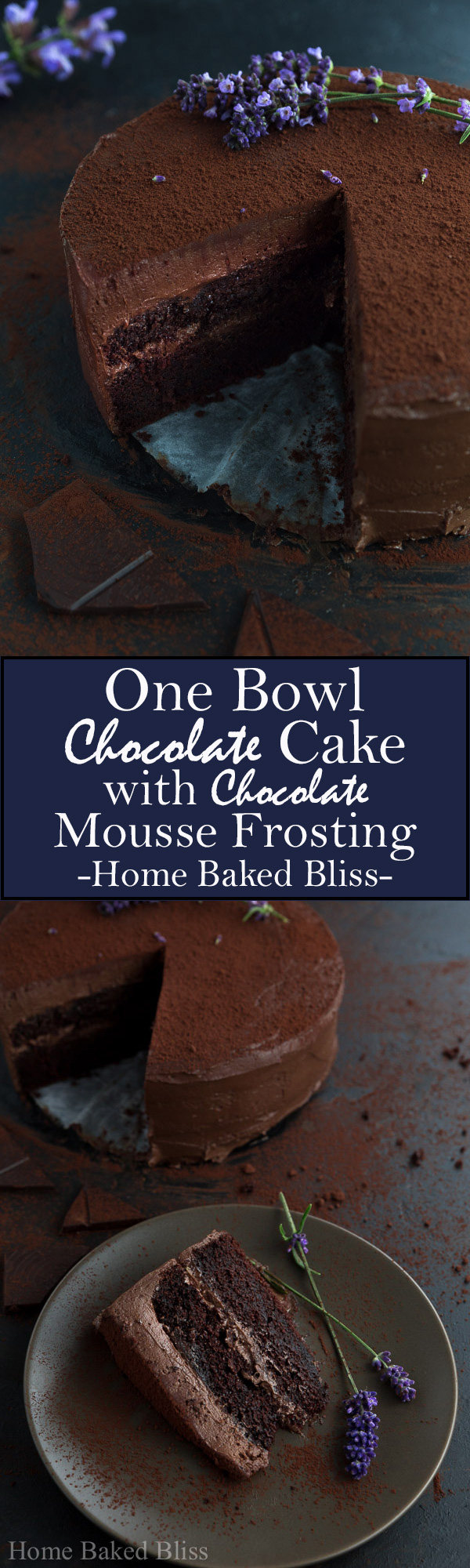 A decadent and flavourful chocolate cocoa cake with chocolate mousse frosting. #chocolate #cake #chocolatecake #dessert | homebakedbliss.com