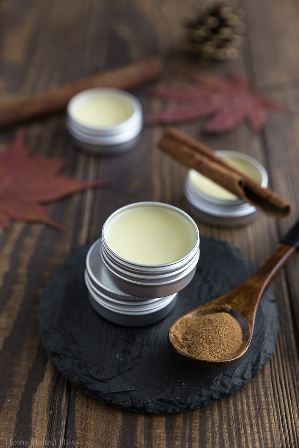 Cinnamon Cocoa Lip Balm in a small metal container beside a spoon holding ground cinnamon.