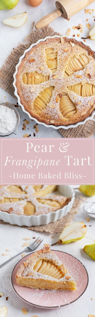 Pear Frangipane Tart sprinkled with powdered sugar and garnished with toasted sliced almonds