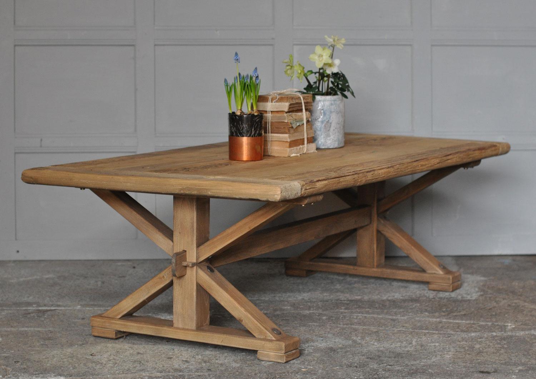 Reclaimed Solid Elm Rustic Coffee Table Home Barn Vintage