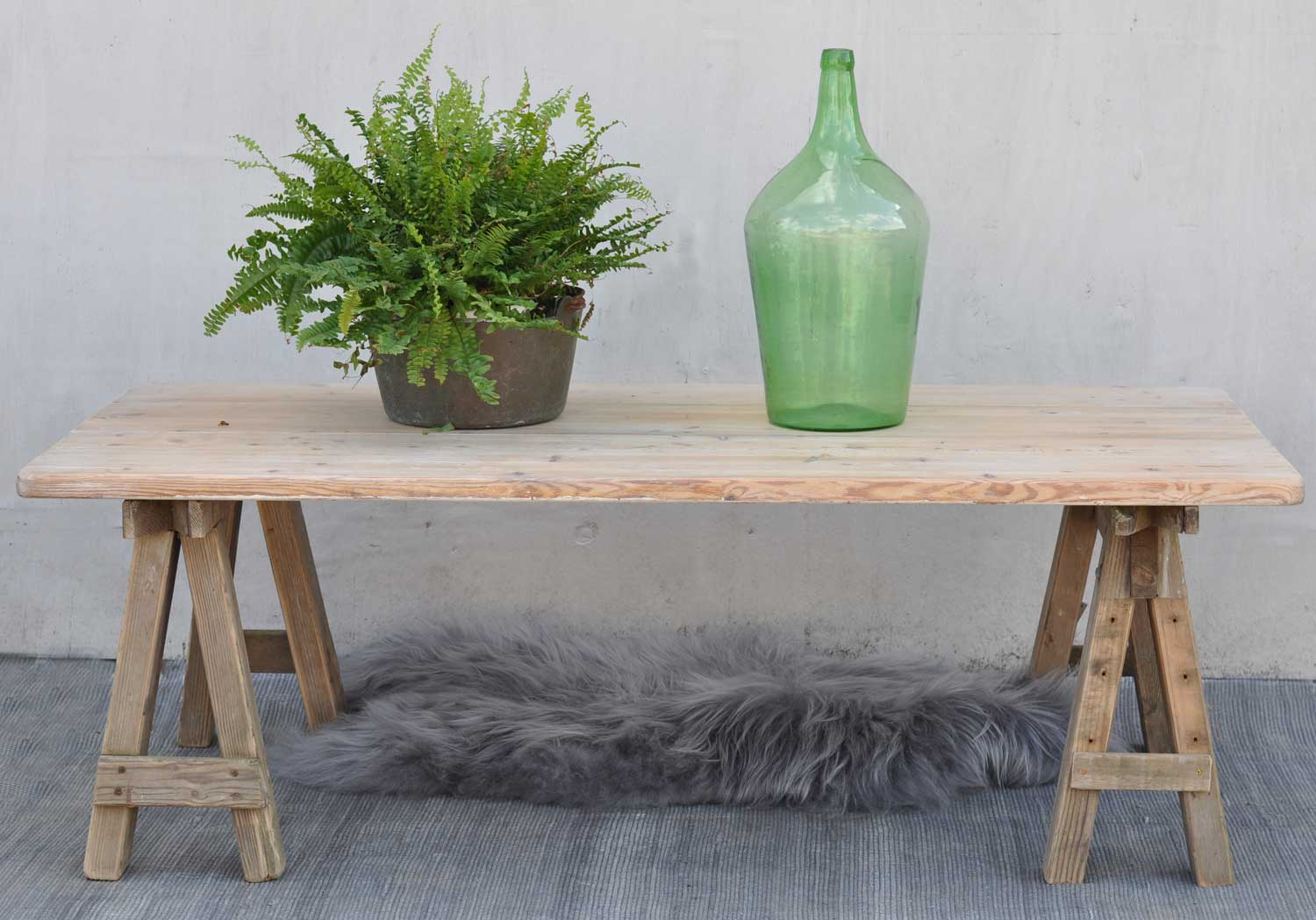 trestle leg coffee table with reclaimed top
