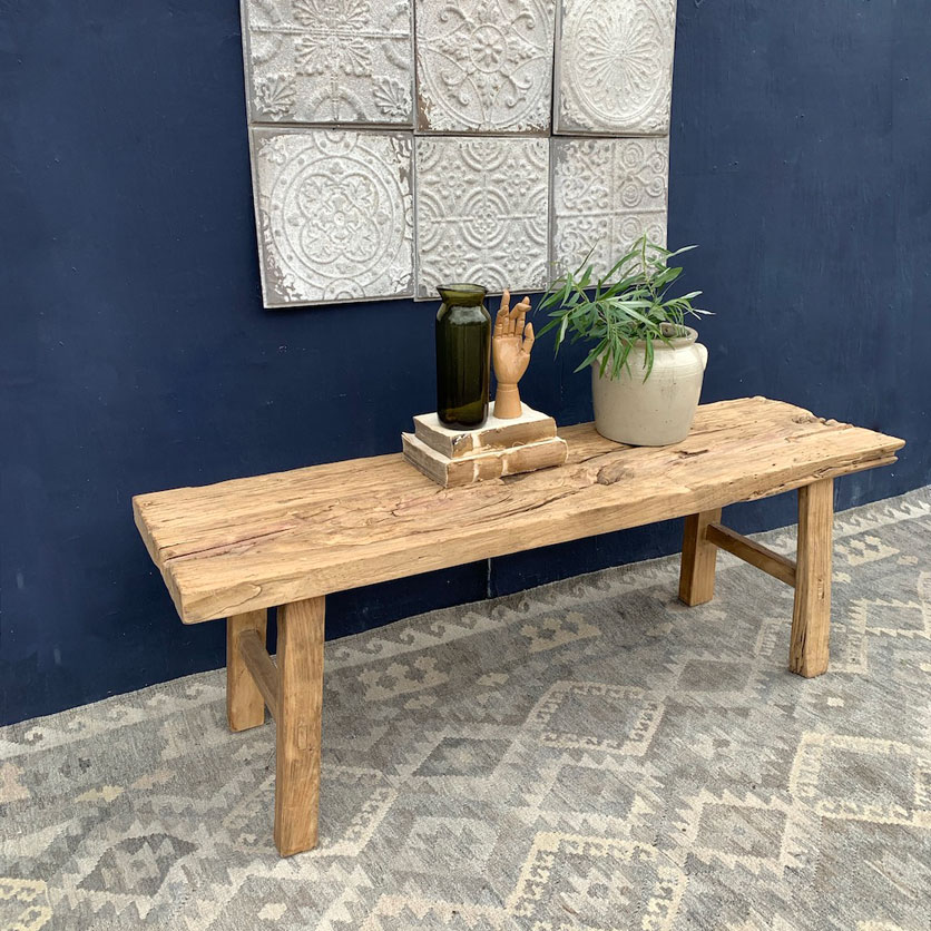 small rustic elm coffee table or bench