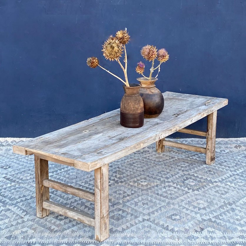 antique rustic coffee table long narrow