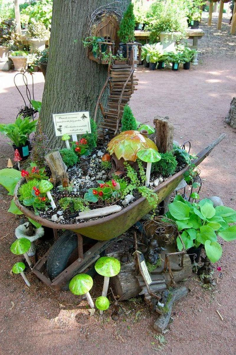 Fairy Garden IDeas: Stairway to heaven tree house diy mini garden
