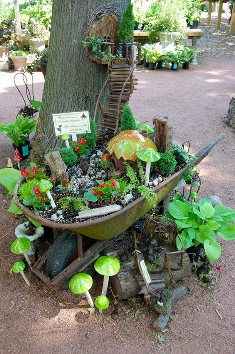 Fairy Garden IDeas: Stairway to heaven tree house diy mini garden