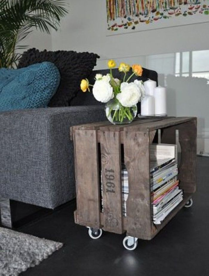 DIY Wood Crate Side Table on Casters