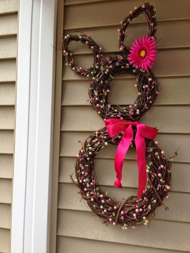 Springtime Bunny Grapevine Wreath Decoration