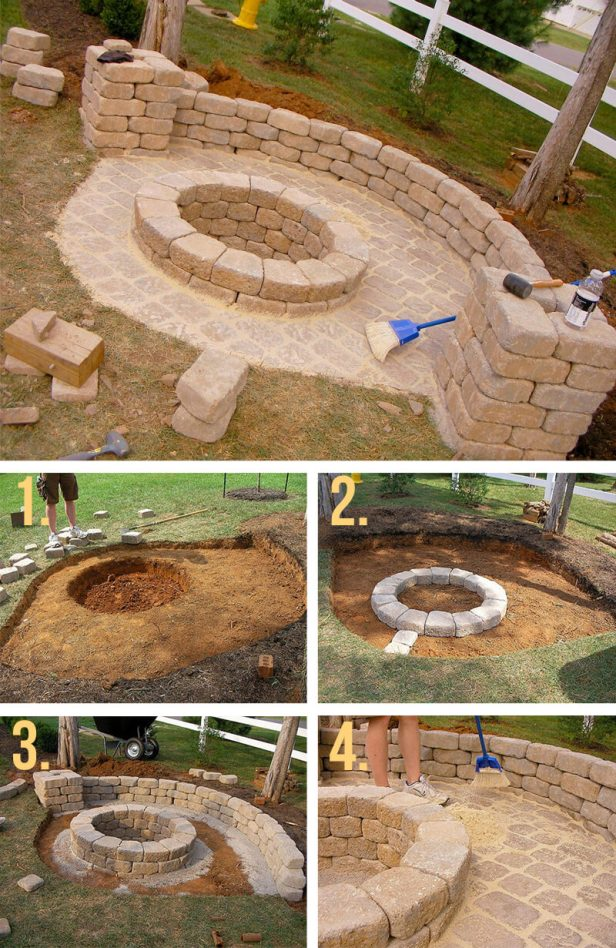 Stone Firepit with Half Wall