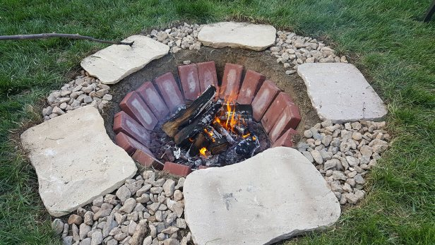 Easy Inground Stone and Brick Firepit
