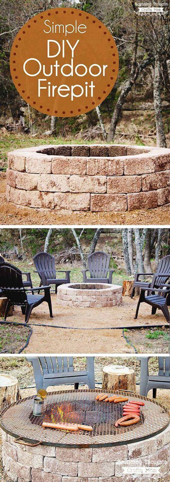 Simple DIY Round Stone Firepit