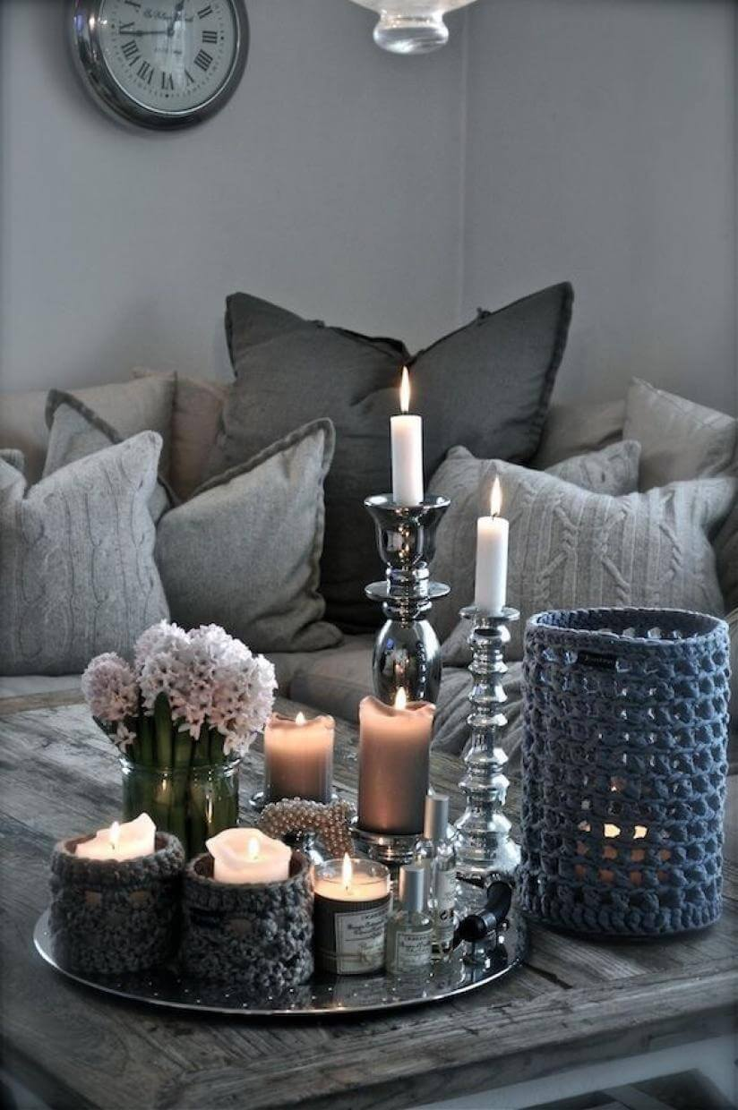 37 Best Coffee Table Decorating Ideas and Designs for 2018 Eye catching Silver and Glass Candlesticks with Fiber art Accents