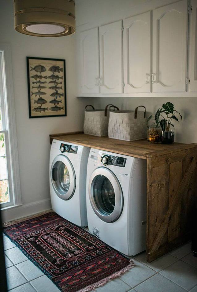 Rustic Wood Crate Laundry Counter