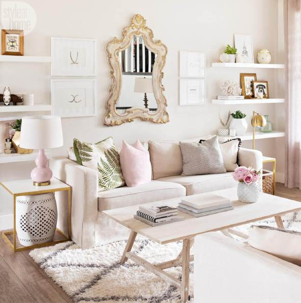 Uptown Antoinette Living Room With Copper Rococo Mirror