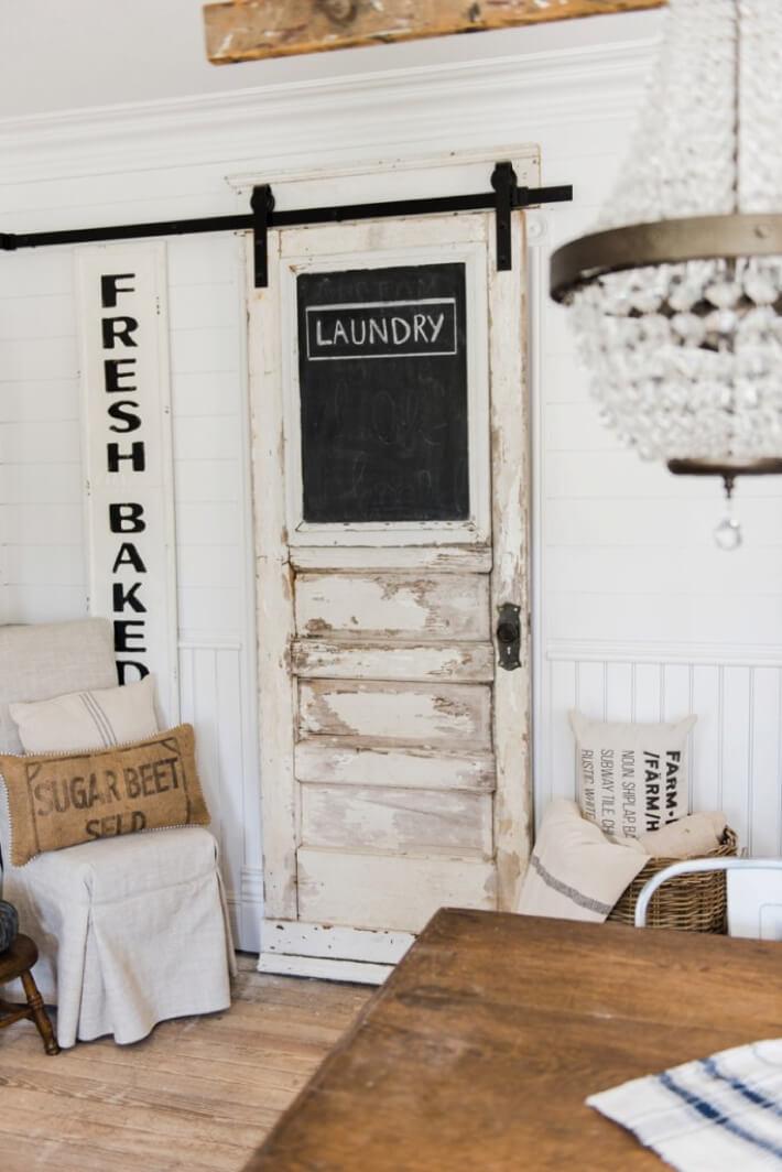 cottage chic white wooden door