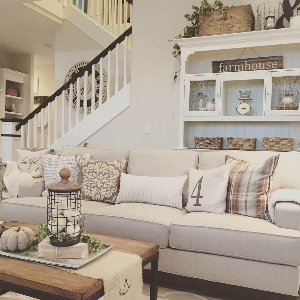 50+ Best Farmhouse Living Room Decor Ideas and Designs for ... on Farmhouse Decorating Ideas  id=42403