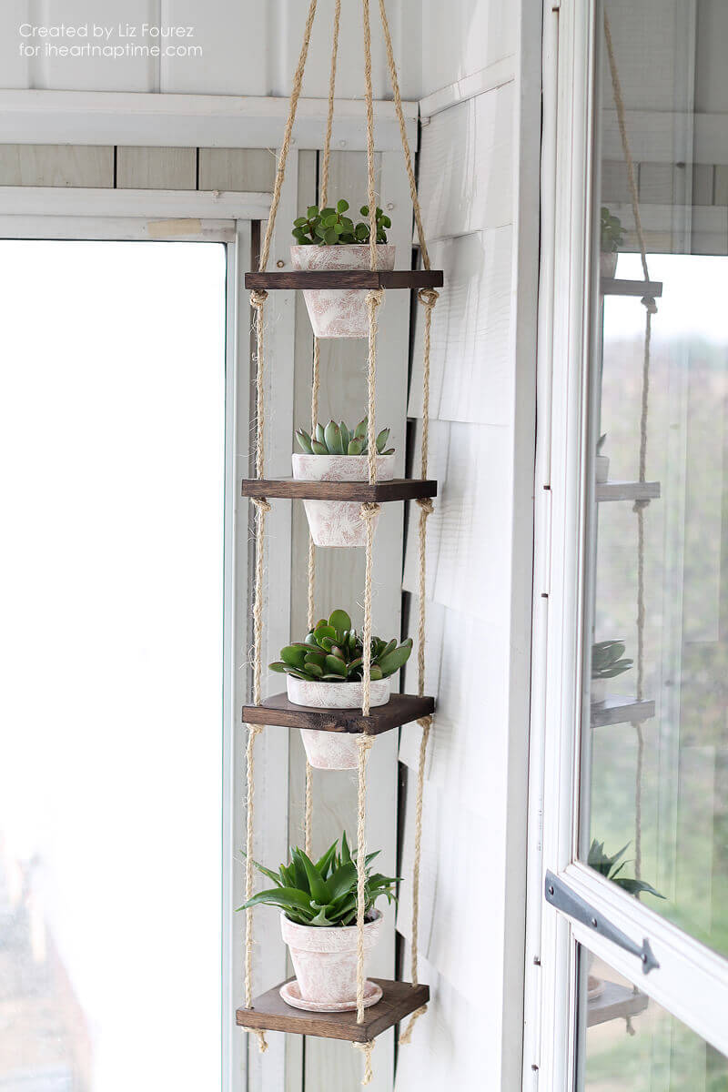 4. Twine Hanging Succulent Tower
