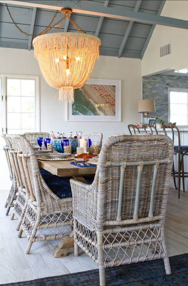 beach inspired dining area with seaweed