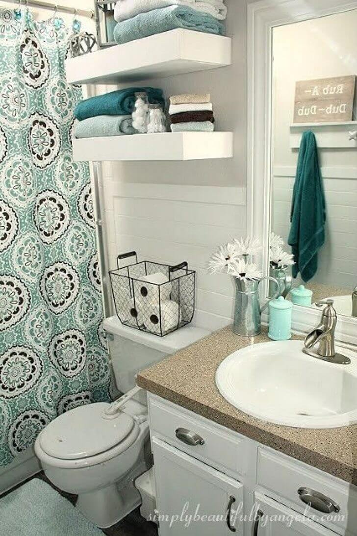 32 Best Over the Toilet Storage Ideas and Designs for 2020 on Small:e_D8Ihxdoce= Bathroom Ideas  id=46941