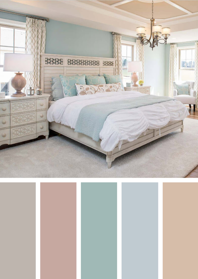12 Best Bedroom Color Scheme Ideas and Designs for 2018 12  Cottage Chic Suite with Icy Pastels