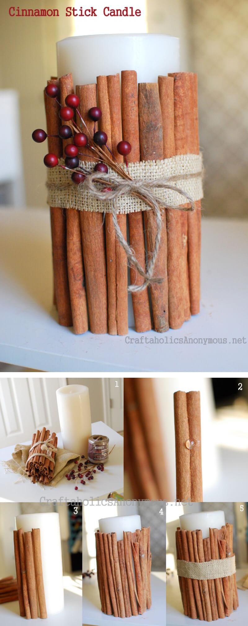Classy Cinnamon Stick Decorated Candle