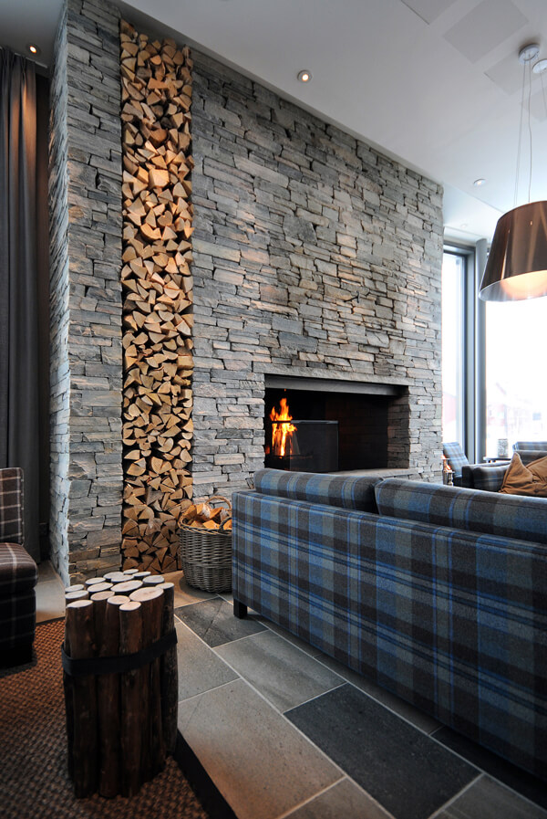 33 Best Interior Stone Wall Ideas and Designs for 2018 Mixed Stone and Stacked Wood Cabin Concept