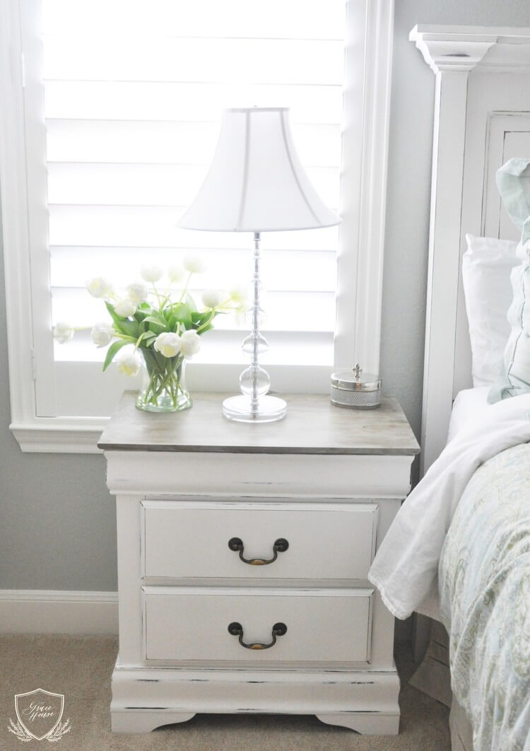 Distressed Night Stand With Lovely Flowers Homebnc