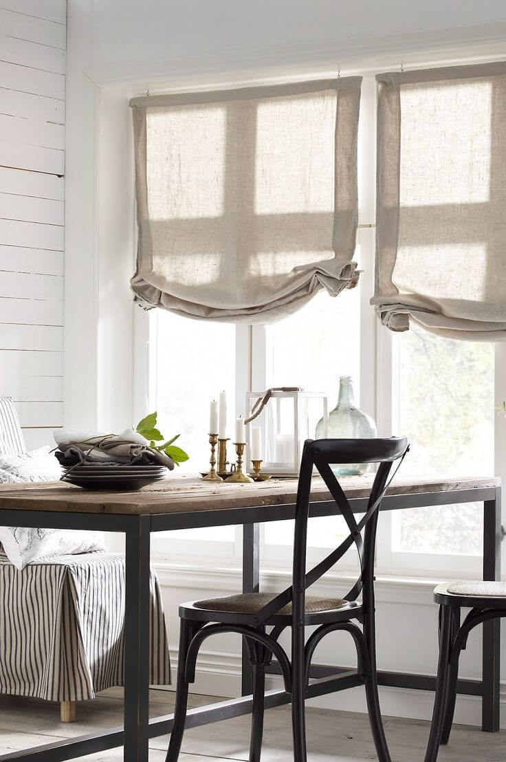 26 Best Farmhouse Window Treatment Ideas and Designs for 2020 on Farmhouse Dining Room Curtain Ideas  id=52749