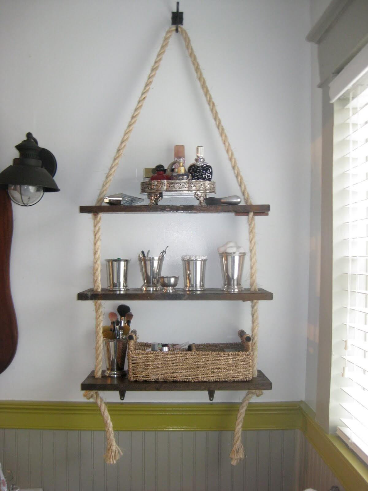 Rope Mounted Hanging DIY Bathroom Organizing Shelves