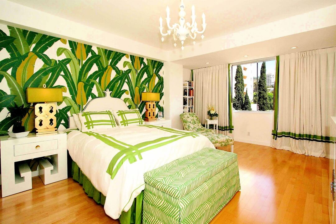 38 Best Tropical Style Decorating Ideas and Designs for 2018 38  Grand Green and White Bedroom with Wallpaper