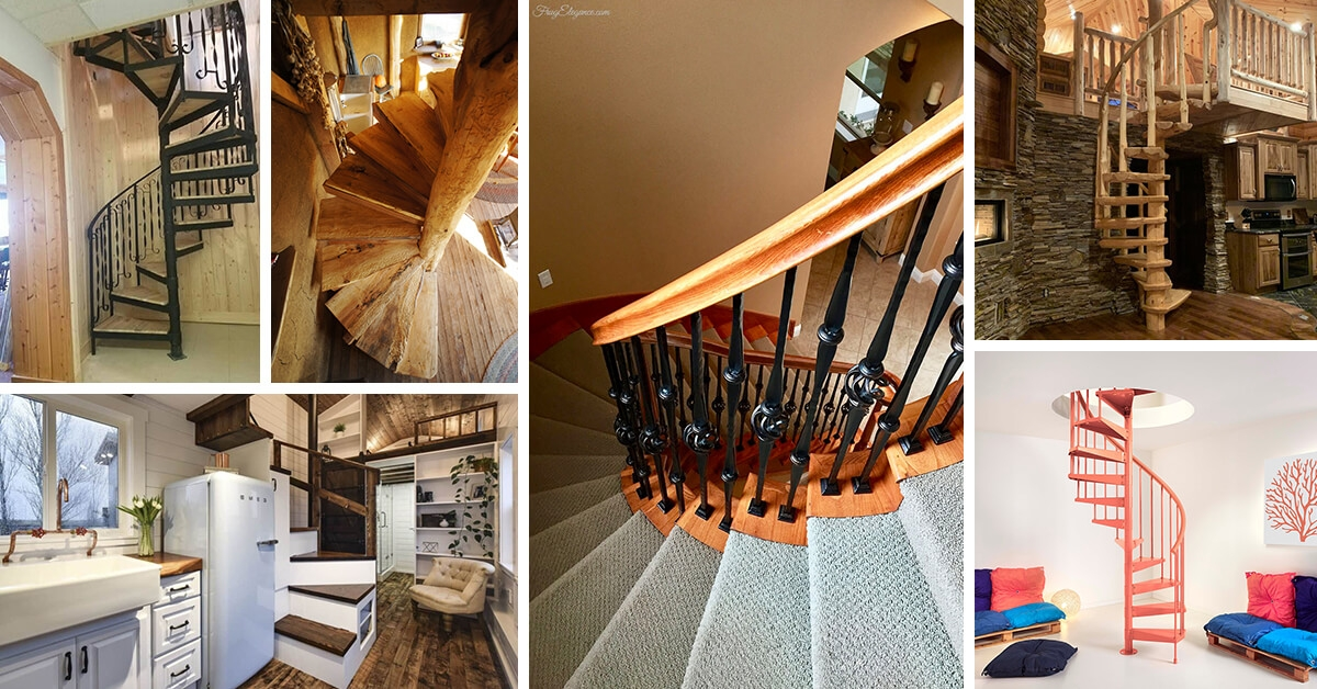 16 Best Spiral Staircase Ideas And Designs For 2020 | Spiral Staircase For Outside Deck | Iron | Custom | Double Spiral | Railing | Portable Rectangular Concrete
