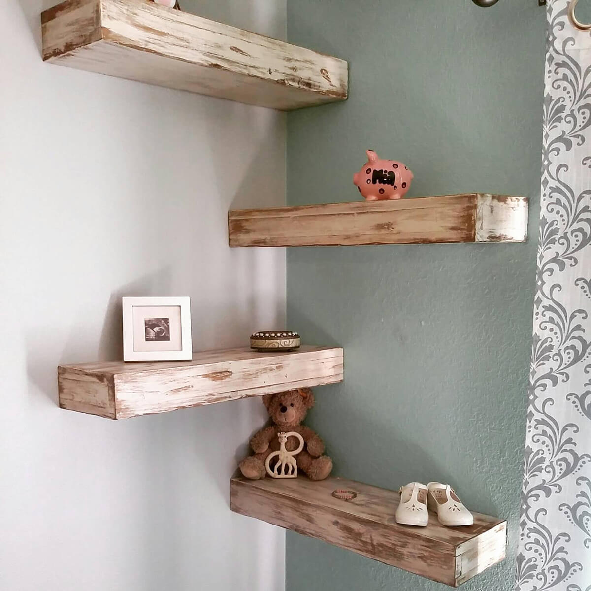 Rustic Wooden Floating Corner Shelves