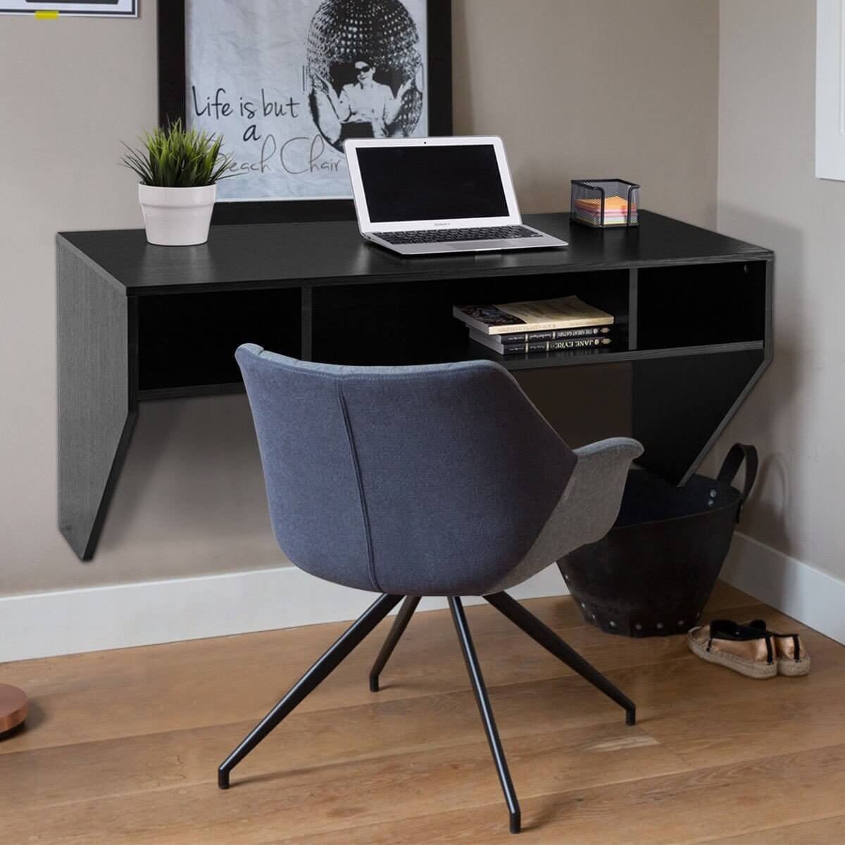 Black Simple Home Office Desk Idea