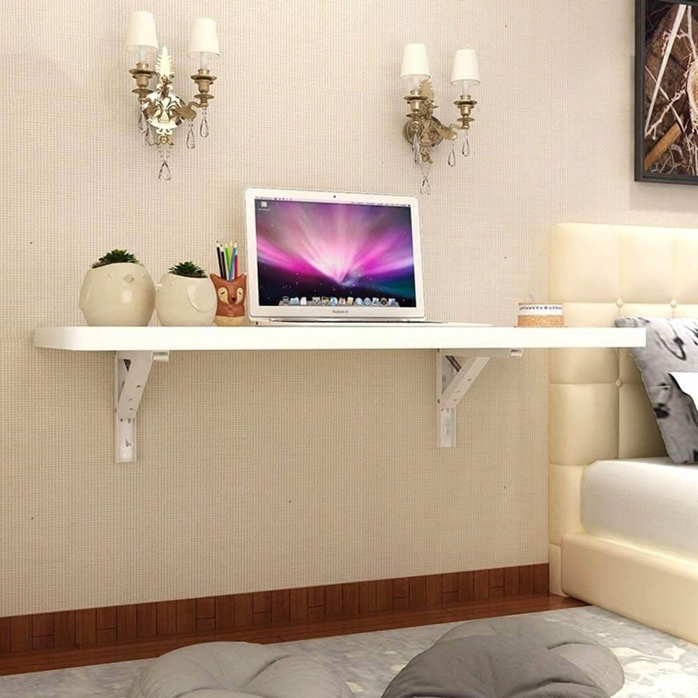 Long White Wall Mounted Desk Idea
