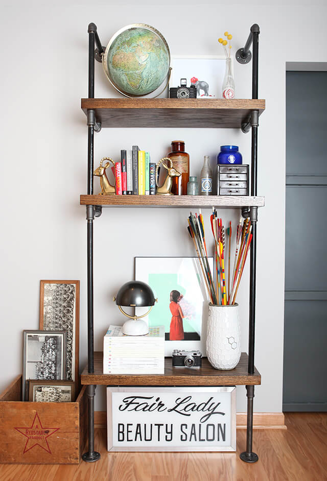 Warm Industrial Floor-to-Ceiling DIY Pipe Shelves