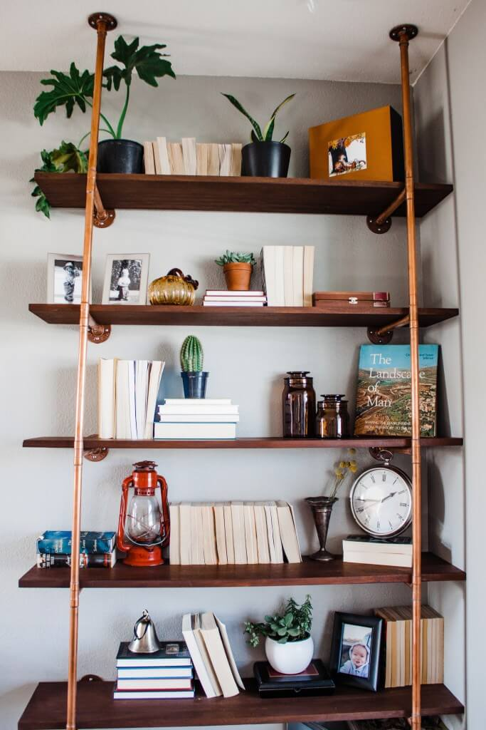 Bright, Warm Copper Pipe and Mahogany Shelves