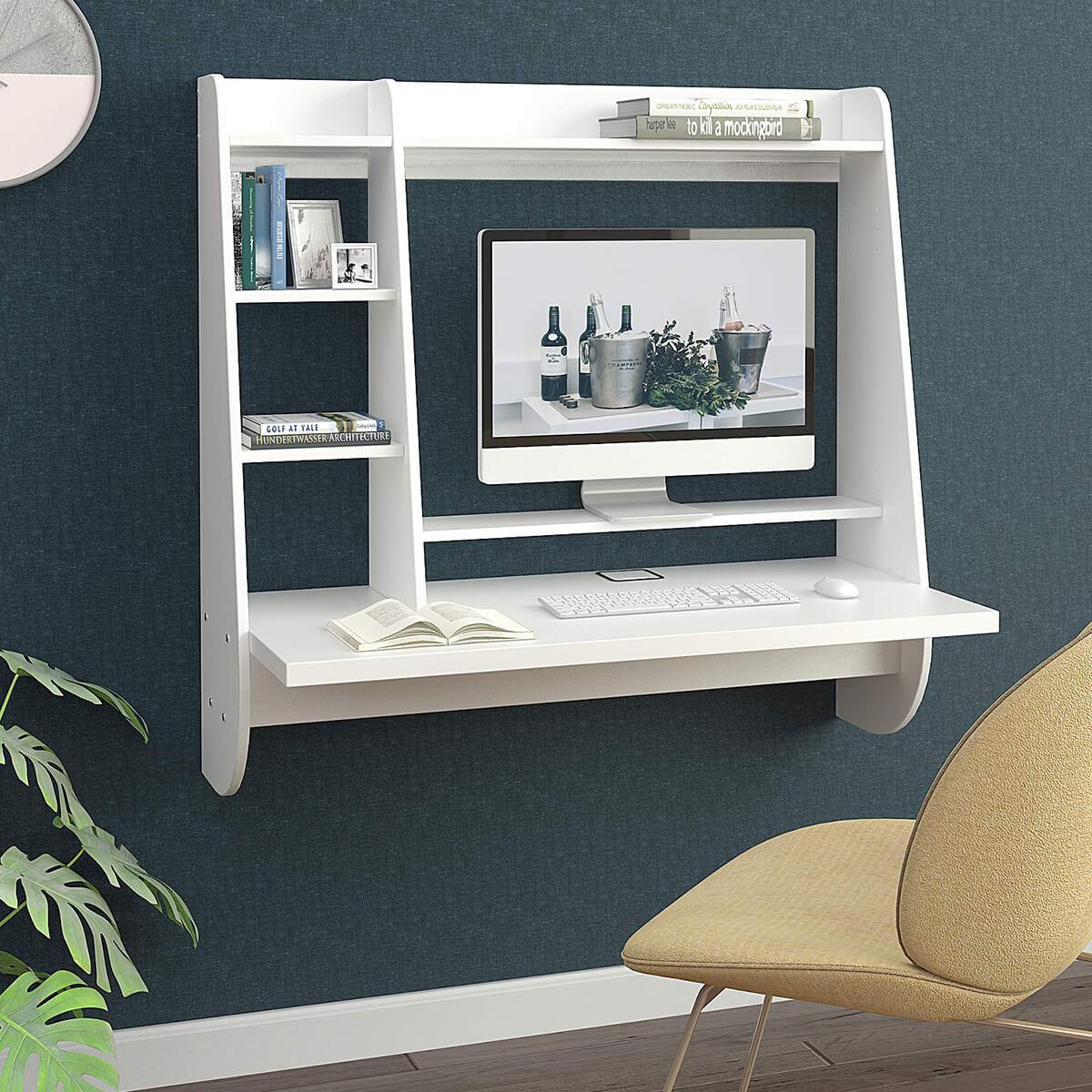 White Organizable Wall Desk Ideas