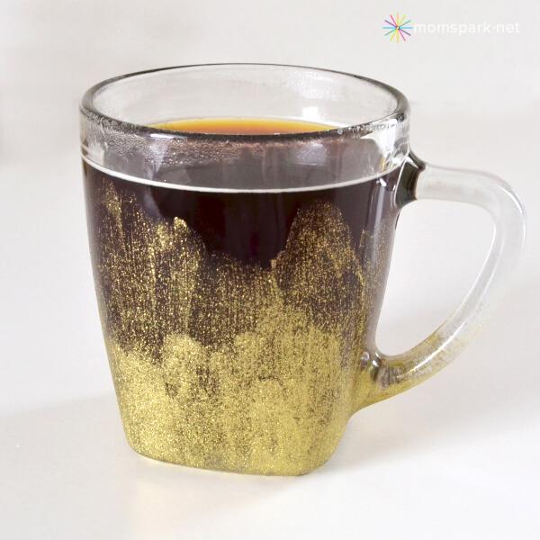 Stylish and Artsy Gold Painted Glass Mug