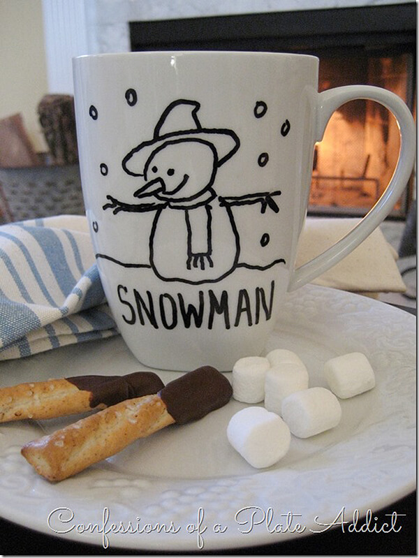 Snowman Line Drawing Winter Mug